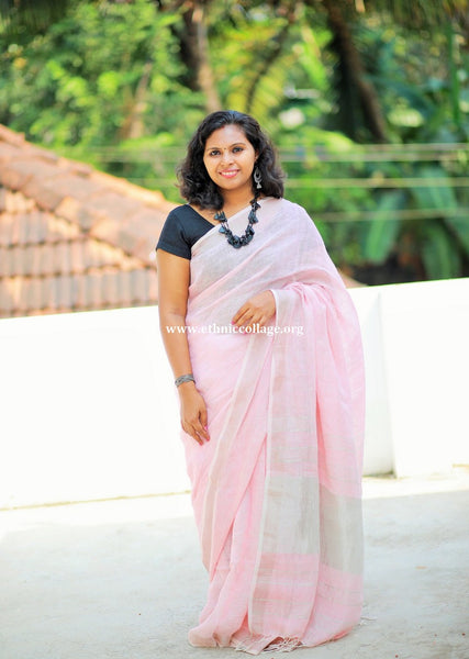 Handloom Pure Organic Linen Saree from Bengal (LNP28)