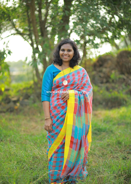 Handloom Pure organic Linen Saree from Bengal (LNP30)