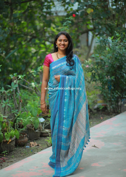 Handloom Pure Organic Linen Saree from Bengal (LNP33)