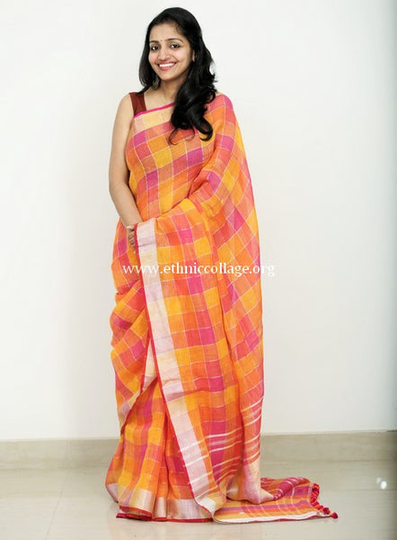 Handloom Linen Linen Saree from Bagalpur (LNZ07)