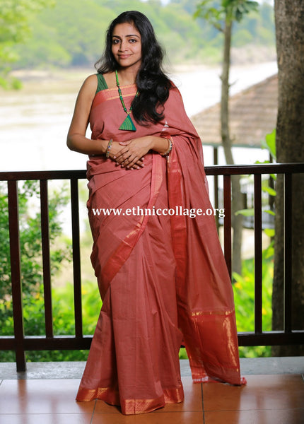 Handloom Mangalgiri Saree with Checks and Pure Benaras Zari