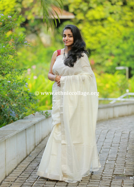 Handloom Mangalgiri Saree with Pure Silver Benaras Zari