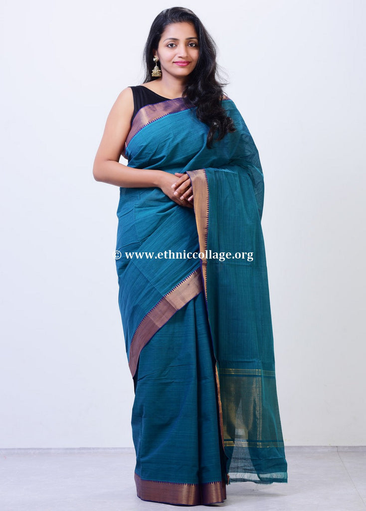 Handloom Mangalgiri Saree with Pure Benaras Zari