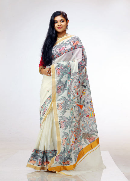 Hand-painted Madhubani on Kerala Kasavu Saree