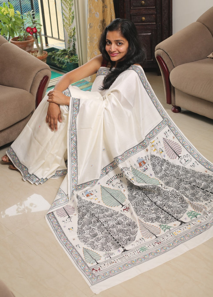 Hand-painted Pattachitra Mulberry Silk Saree