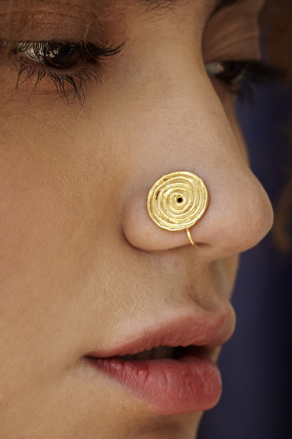 Spiral Gold-plated Silver Nose Pin/Clip (NS D107 G)