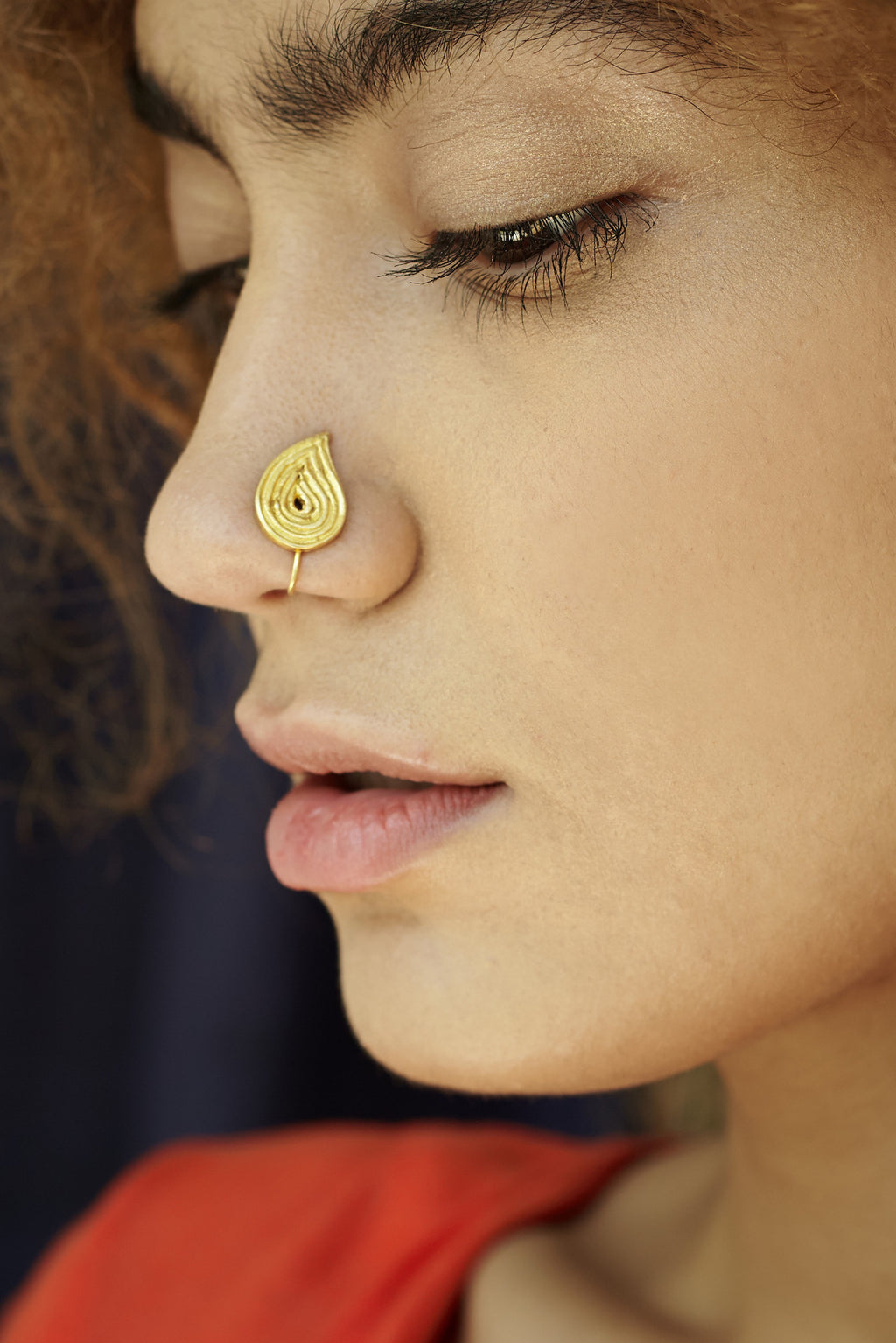 Leaf Shaped Gold-plated Silver Nose Pin/Clip (NS D108 G)