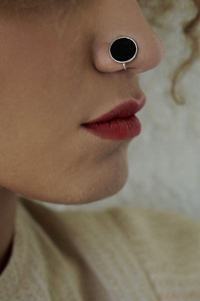 Round Silver Nose Pin/Clip with Black Enamel (NS R01 B)