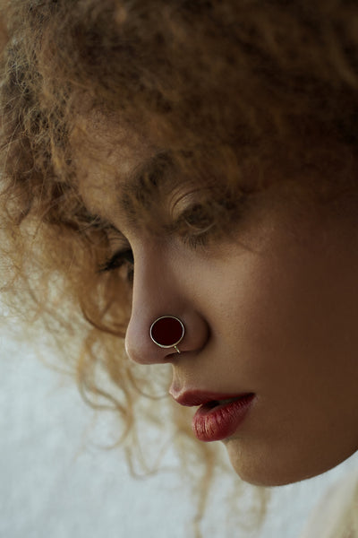 Round Silver Nose Pin/Clip with Red Enamel (NS R01 R)