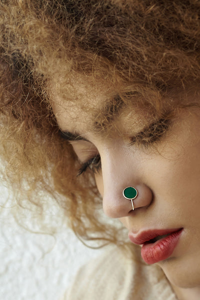 Round Silver Nose Pin/Clip with Green Enamel (NS R05 G)