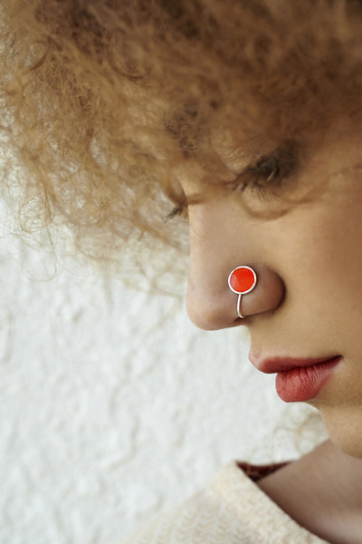 Round Silver Nose Pin/Clip with Orange Enamel (NS R05 O)
