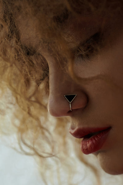Triangular Silver Nose Pin/Clip with Black Enamel (NS R07 B)