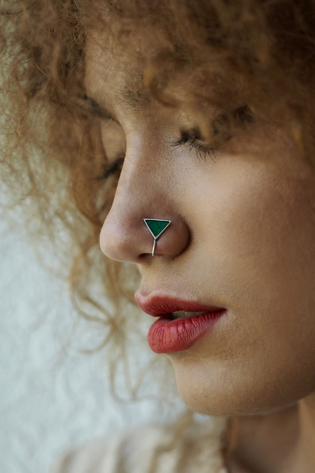 Triangular Silver Nose Pin/Clip with Green Enamel (NS R07 G)