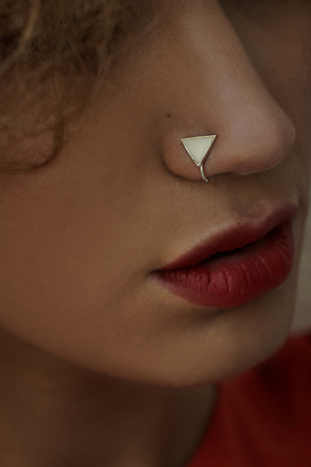 Triangular Silver Nose Pin/Clip with White Enamel (NS R07 W)