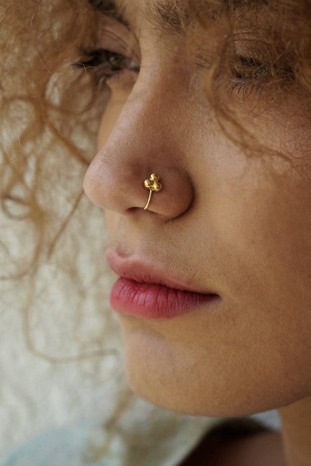 Three-dotted Gold-plated Silver Nose Pin/Clip (NS RV A G)