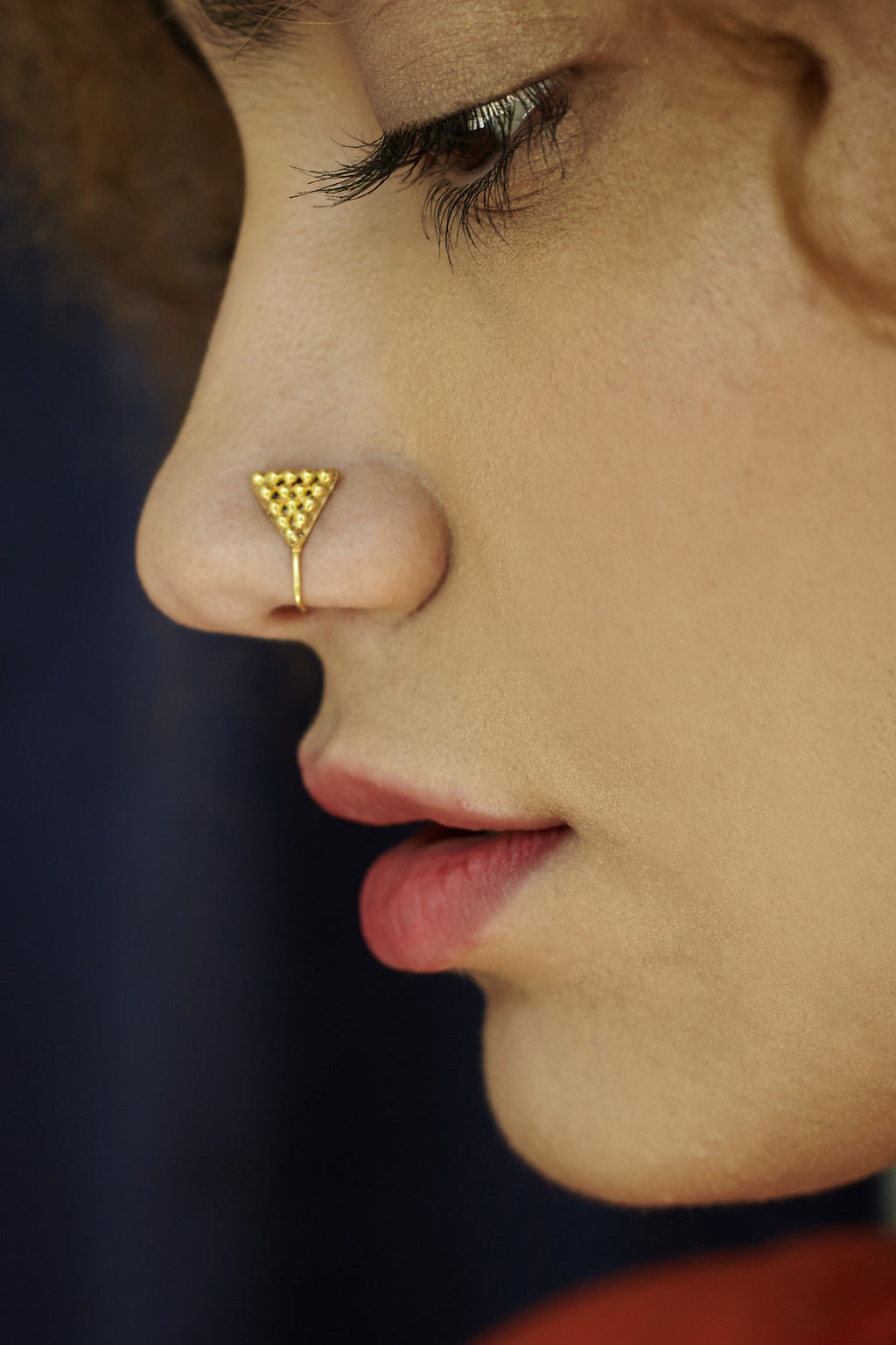 Triangular Gold-plated Silver Nose Pin/Clip (NS RV T G)