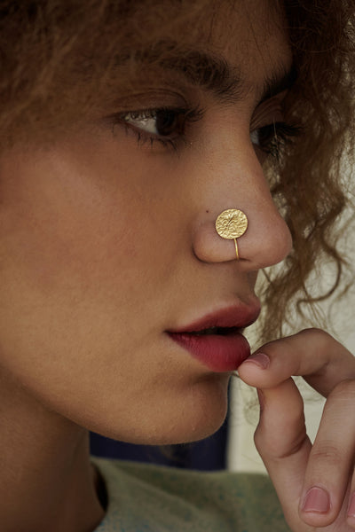 Textured Round Gold-plated Silver Nose Pin/Clip (NS TX RB G)
