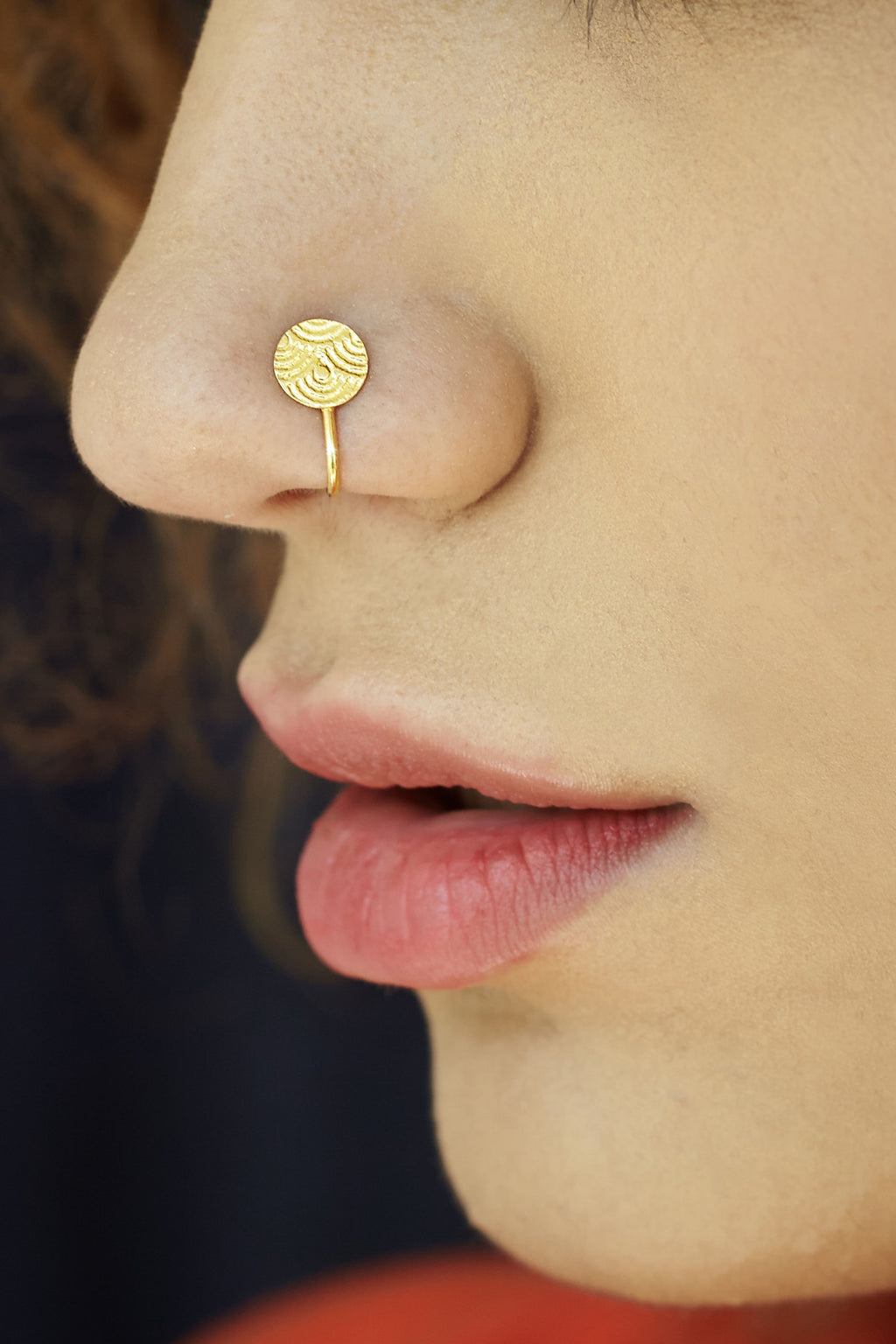 Round Gold-plated Silver Nose Pin/Clip (NS TX RS G)