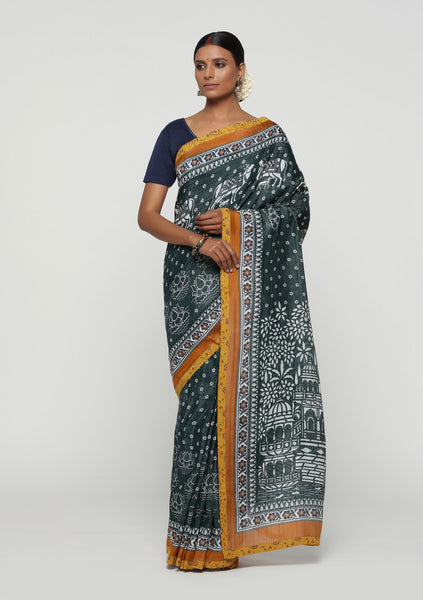 Pichwai Print Marvel on HandWoven Tussar Linen Saree (PSDP-23A)