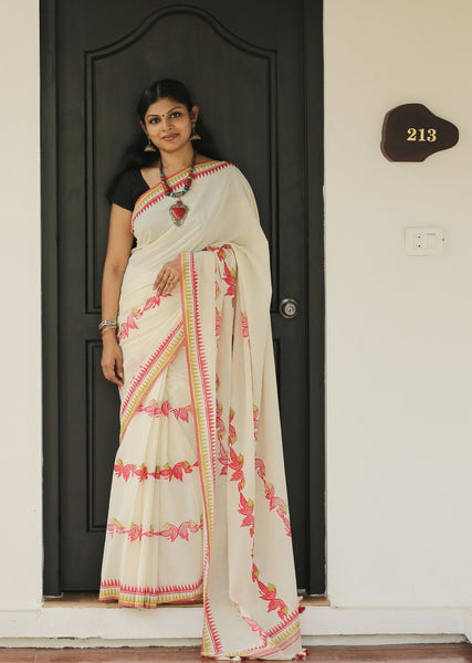 Handloom and Hand-Printed Khadi Cotton Saree