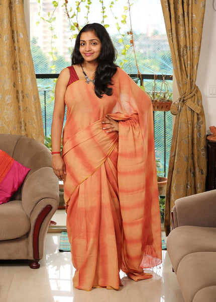 Handloom Cotton Khadi Saree Hand-Dyed using Natural Colors