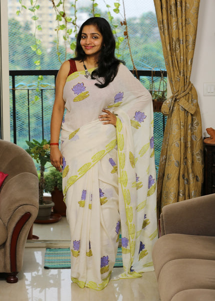 Handloom Cotton Khadi Saree with Hand-Printed Violet Lotus