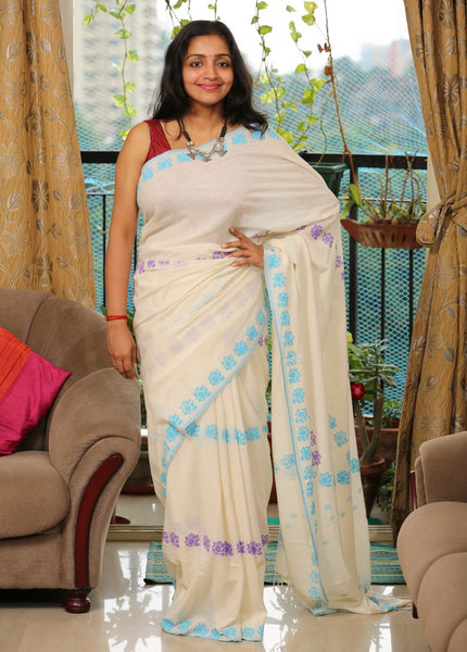 Handwoven Khadi Cotton Saree with Hand-printed Bi-Color Lotus