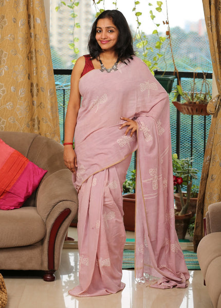 Handwoven Khadi Cotton Saree with Hand-Block Printed Batik using Natural Dyes