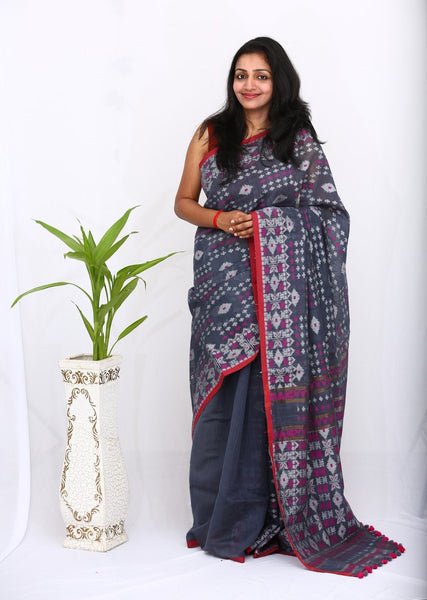 HandWoven Khadi Silk Saree with Jamdani