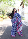 Handloom Checkered Cotton Saree