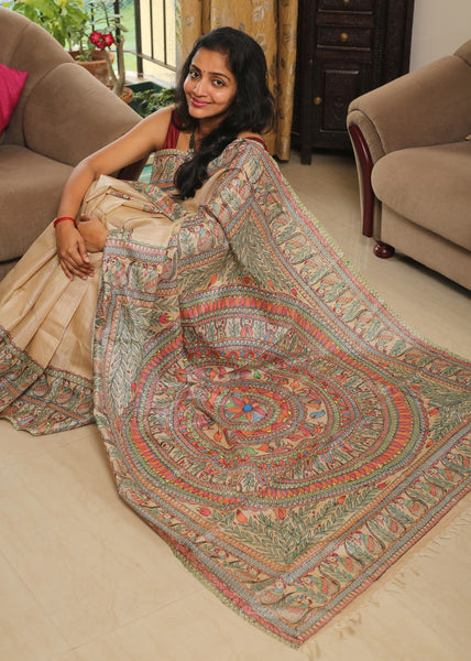 Hand-painted Madhubani Tussar Silk Saree
