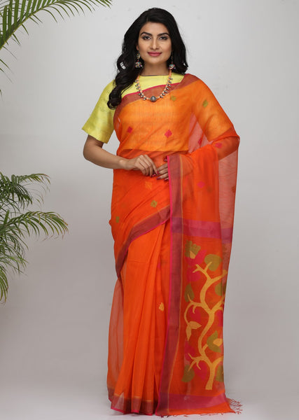 HandWoven Twist Silk by Mercerised Cotton Jamdani Saree