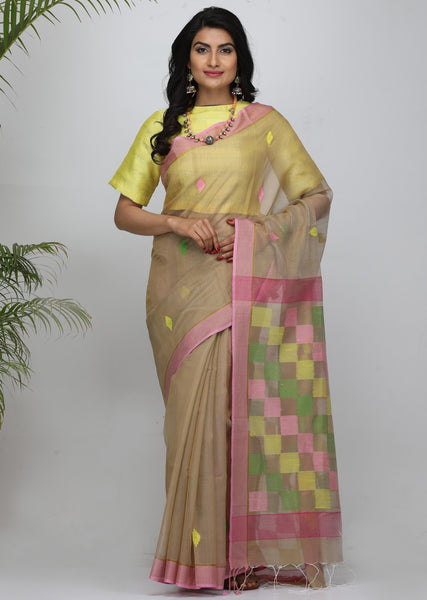 Handloom Twist Silk by Mercerised Cotton Jamdani Saree