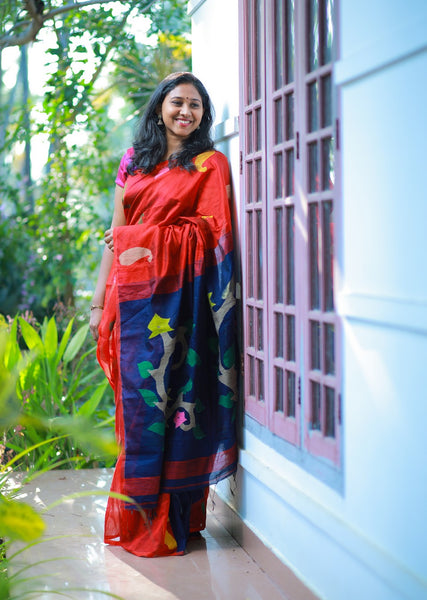 HandWoven Mercerised Cotton Twist Silk Jamdani Saree