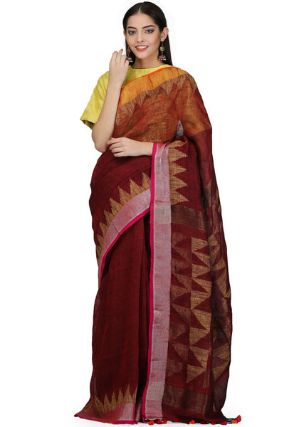 Handloom Linen Jamdani Saree with Zari