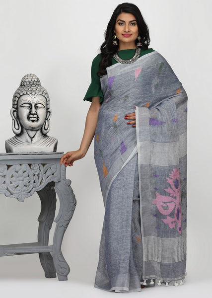 HandWoven Linen by Linen Jamdani Saree
