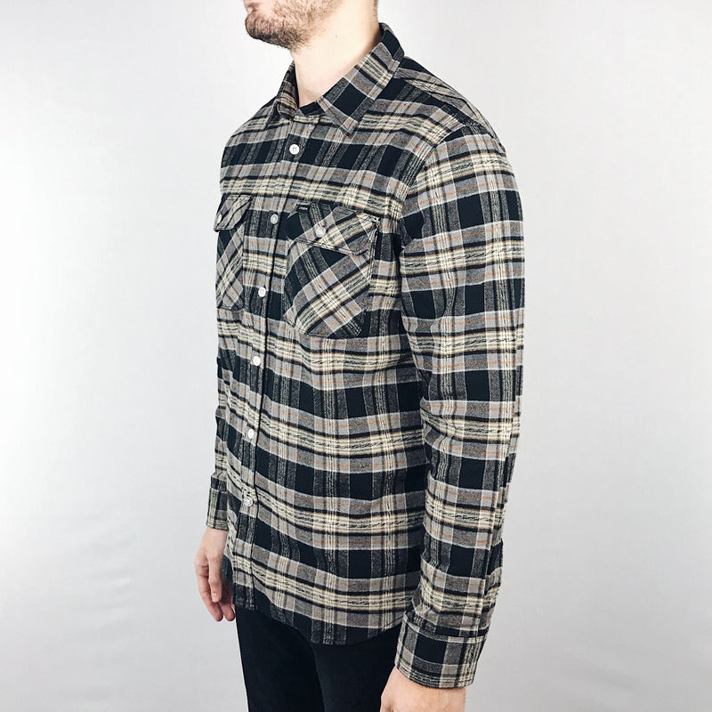 Brixton - Bowery Shirt Long Sleeve Flannel Black/Grey - Foundry Mens Goods