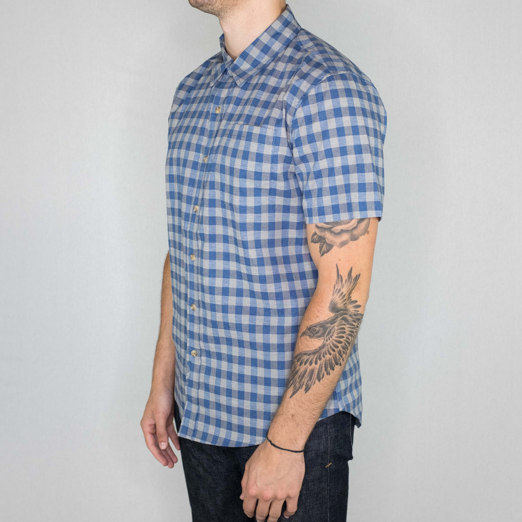 Bridge and Burn - Harbor Short Sleeve Shirt Blue Grey Gingham - Foundry Mens Goods