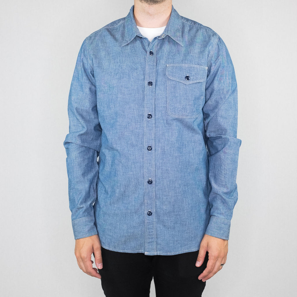 Freenote Cloth - Utility Single Pocket Long Sleeve Shirt Chambray - Foundry Mens Goods