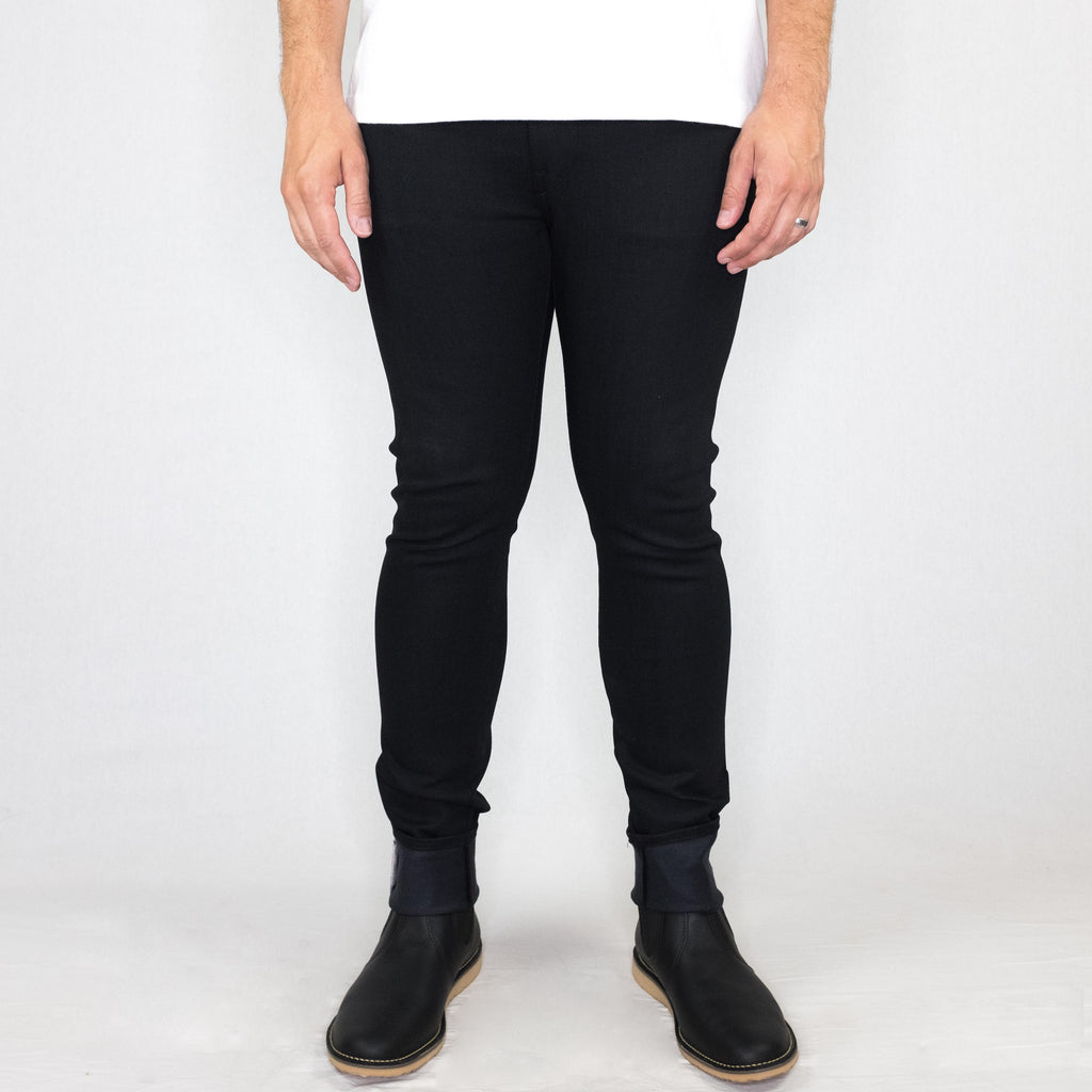 Kato - The Needle Skinny 10.5oz 4-Way Stretch Selvedge Black Denim - Foundry Mens Goods