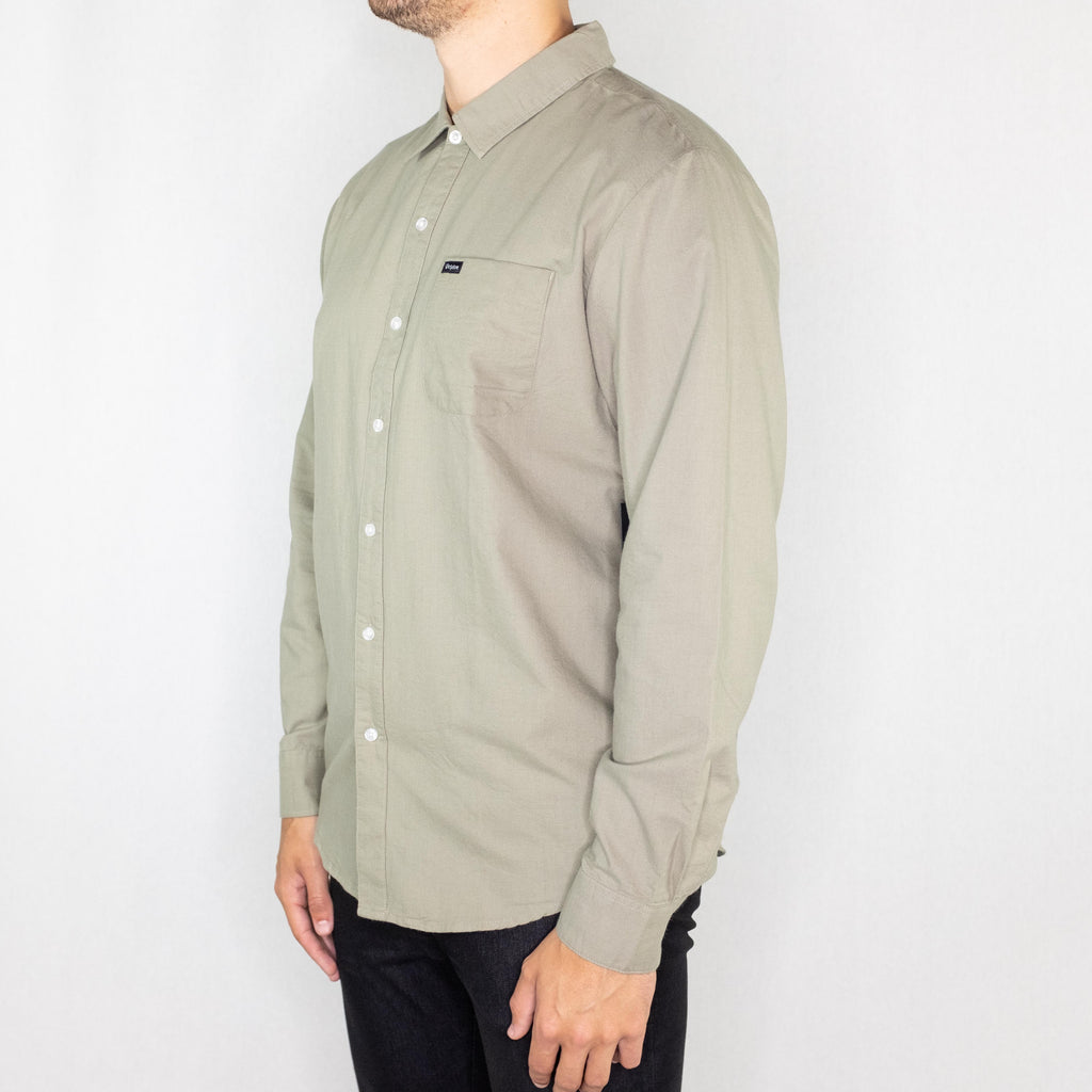 Brixton - Charter Oxford Long Sleeve Sage - Foundry Mens Goods