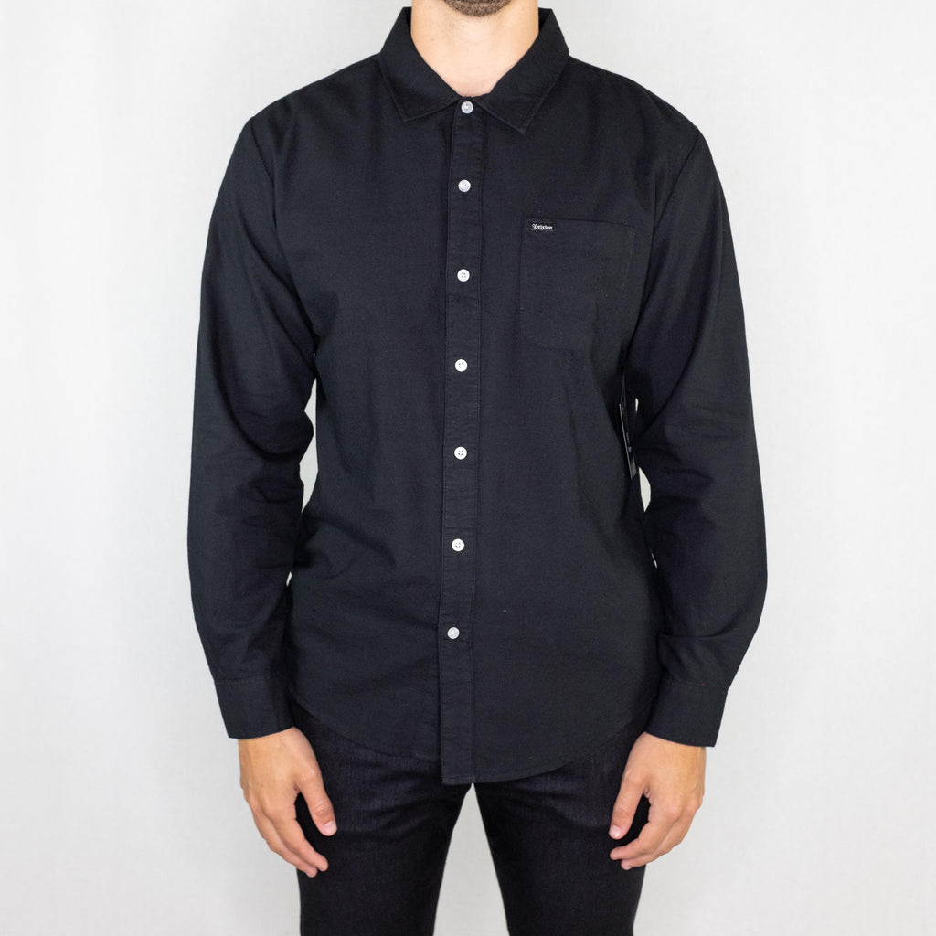 Brixton - Charter Oxford Long Sleeve Woven Black - Foundry Mens Goods