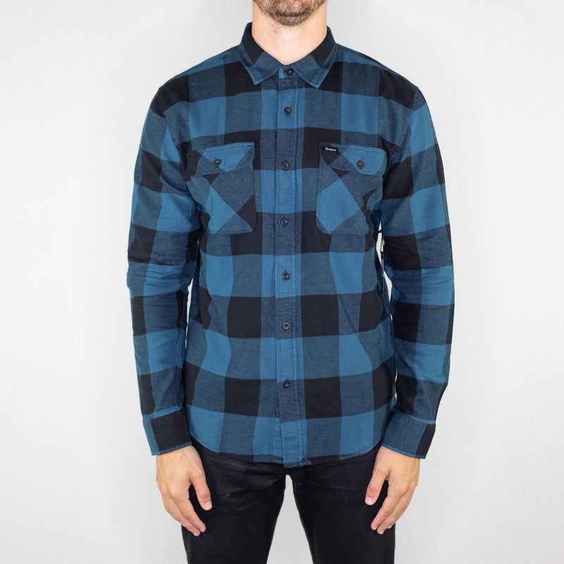 Brixton - Bowery Lightweight Shirt Long Sleeve Flannel Black/Teal - Foundry Mens Goods