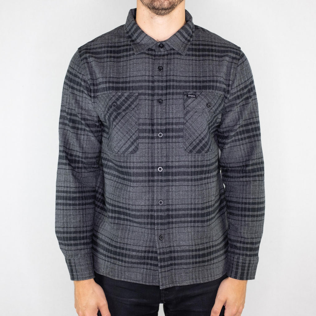 Brixton - Archie Long Sleeve Flannel Black/Heather Charcoal - Foundry Mens Goods