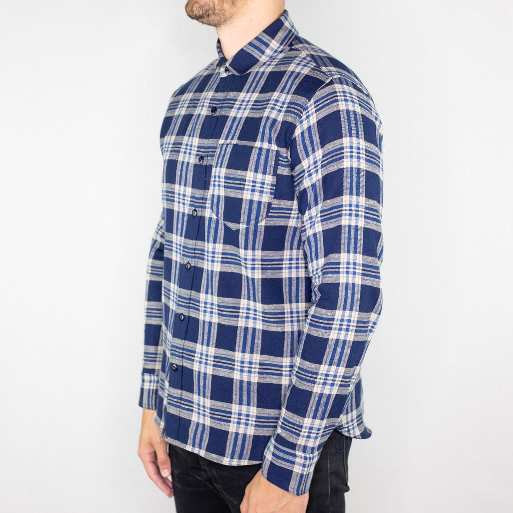 Rogue Territory - Traveler Long Sleeve Shirt Navy Plaid - Foundry Mens Goods