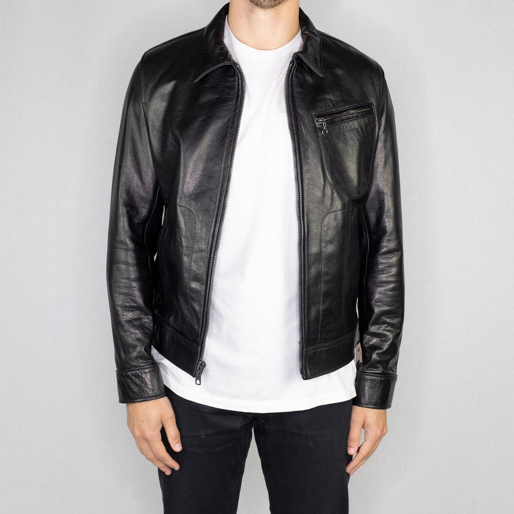 Schott NYC - 575 70's Unlined Waxy Cowhide Leather Delivery Jacket Black