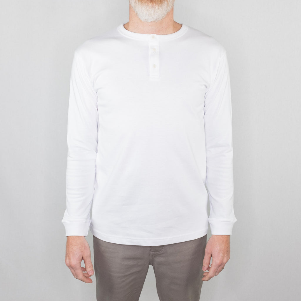 3Sixteen - Long Sleeve Henley White - Foundry Mens Goods