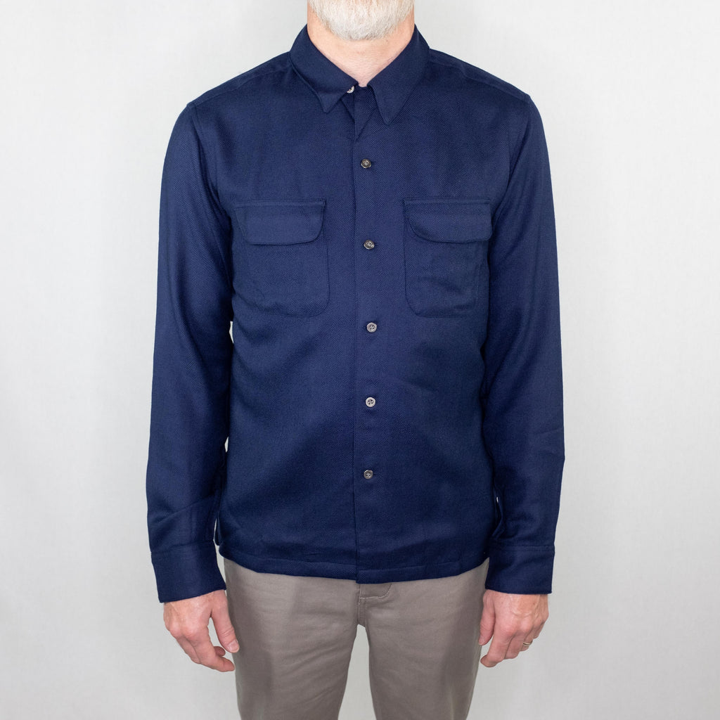 Corridor - Worsted Wool Work Shirt Long Sleeve Navy - Foundry Mens Goods