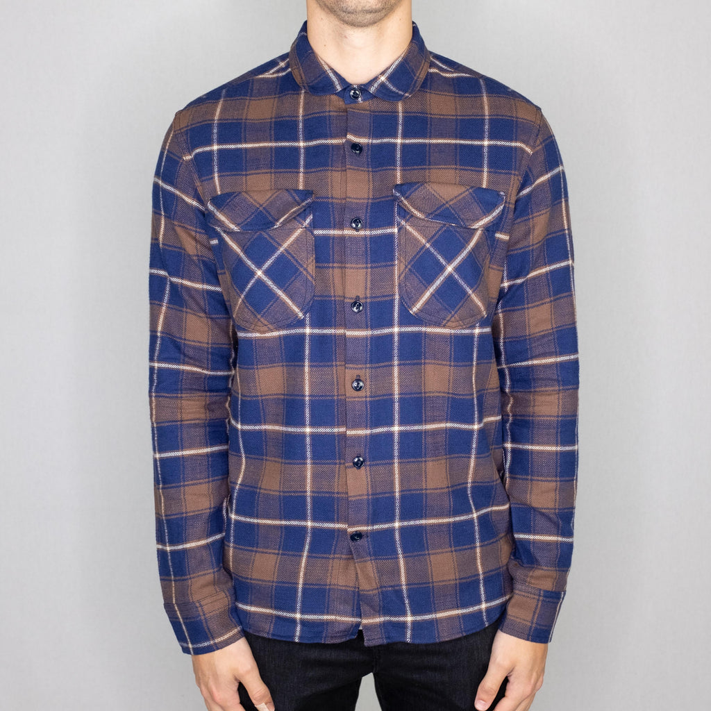 Rogue Territory - Rancher Shirt Long Sleeve Brown/Navy Plaid - Foundry Mens Goods