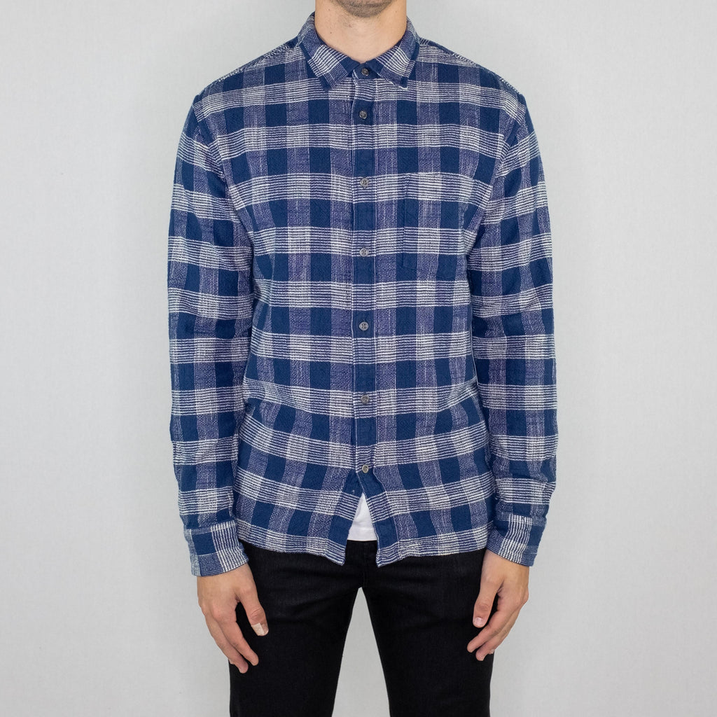 Corridor - Triple Check Long Sleeve Shirt Indigo Blue - Foundry Mens Goods